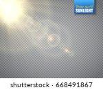 lens flare light effect. sun... | Shutterstock .eps vector #668491867
