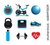 fitness set  gym  workout ... | Shutterstock .eps vector #668495839