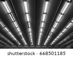 fluorescent lamps line  view of ... | Shutterstock . vector #668501185