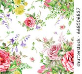 watercolor seamless pattern... | Shutterstock . vector #668506837