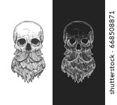human skull with beard and... | Shutterstock .eps vector #668508871