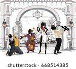 street musicians in the city.... | Shutterstock .eps vector #668514385