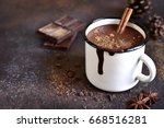 homemade spicy hot chocolate...   Shutterstock . vector #668516281
