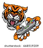 a tiger video game player... | Shutterstock .eps vector #668519209