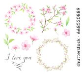 i love you template. floral... | Shutterstock . vector #668520889