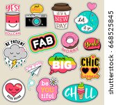 Stock vector set of fashion patches cute colorful badges fun cartoon icons design vector in motivation concept 668525845