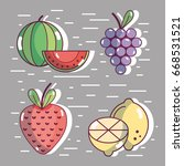 set healthy fresh fruit food | Shutterstock .eps vector #668531521