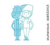 silhouette doctor and nurse to... | Shutterstock .eps vector #668532415