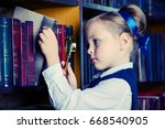 cute little girl looking for a... | Shutterstock . vector #668540905