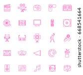 twenty five pink set art icons... | Shutterstock .eps vector #668541664