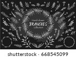 vector hand drawn floral and... | Shutterstock .eps vector #668545099