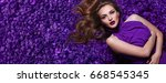 the girl in the petals....   Shutterstock . vector #668545345