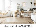 scandi room with vintage... | Shutterstock . vector #668547181