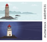 two banners with lighthouse on... | Shutterstock .eps vector #668549131