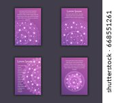 card set with floral glowing... | Shutterstock .eps vector #668551261