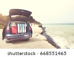 car trip and summer time  | Shutterstock . vector #668551465