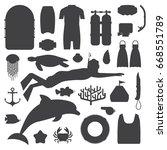 snorkeling set of outline...   Shutterstock .eps vector #668551789