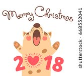 merry christmas 2018 card with... | Shutterstock .eps vector #668552041