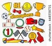 champions doodle with medals ... | Shutterstock .eps vector #668558731