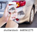 woman using mobile smartphone... | Shutterstock . vector #668561275