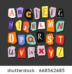 colorful newspaper alphabet.... | Shutterstock .eps vector #668562685