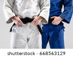 the two judokas fighters posing ... | Shutterstock . vector #668563129