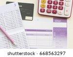 savings account pass book bank...   Shutterstock . vector #668563297
