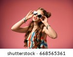 beautiful stylish woman with... | Shutterstock . vector #668565361