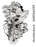 beautiful doodle art koi carp... | Shutterstock .eps vector #668566339