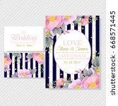 invitation on a beautiful... | Shutterstock .eps vector #668571445