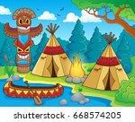 native american campsite theme... | Shutterstock .eps vector #668574205