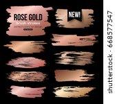 grunge gold ink brush strokes... | Shutterstock .eps vector #668577547