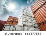 industrial container yard for... | Shutterstock . vector #668577559