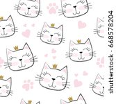 seamless pattern with cute cats ... | Shutterstock .eps vector #668578204
