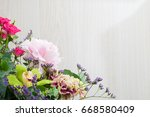 close up bouquet of blooming... | Shutterstock . vector #668580409