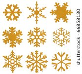 Set Of Snowflakes From Gold...