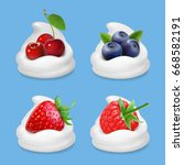 berries and yogurt. realistic... | Shutterstock .eps vector #668582191
