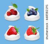 berries and yogurt. realistic... | Shutterstock .eps vector #668582191