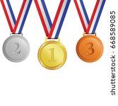gold  silver and bronze medals... | Shutterstock .eps vector #668589085