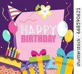 happy birthday vector card.... | Shutterstock .eps vector #668590621