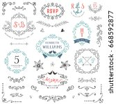 hand drawn rustic wedding and... | Shutterstock .eps vector #668592877