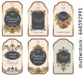 ornate vintage labels. retro... | Shutterstock .eps vector #668592991