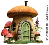 Fairy mushroom house 3D illustration