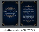 ornate invitation card in... | Shutterstock .eps vector #668596279