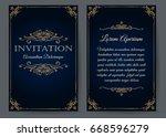 ornate invitation card in... | Shutterstock .eps vector #668596279