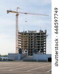 construction site with cranes... | Shutterstock . vector #668597749