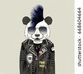 panda bear punk  furry art... | Shutterstock .eps vector #668604664