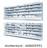 store shelves with goods. 3d...   Shutterstock . vector #668605951