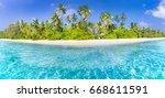 perfect beach panorama. summer... | Shutterstock . vector #668611591