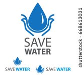 save water icon. drop water | Shutterstock .eps vector #668613031